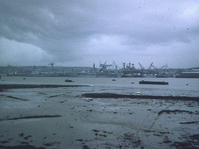 Devonport: Jan1974. Three carriers: Hermes and Bulwark alongside; Ark Royal in the basin.