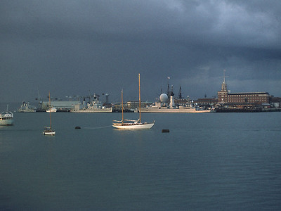 Portsmouth. Three Cruisers: Tiger, Blake and a more modern French Destroyer/Cruiser(Duquesne?) 1972/3